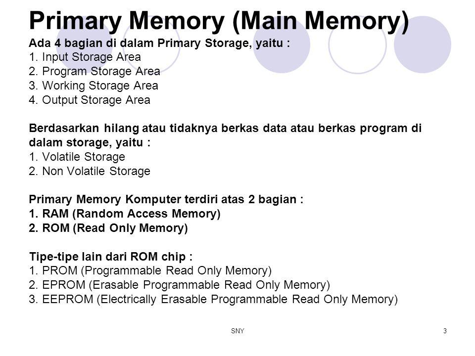 SNY3 Primary Memory (Main Memory) Ada 4 bagian di dalam Primary Storage, yaitu : 1. Input Storage Area 2. Program Storage Area 3. Working Storage Area