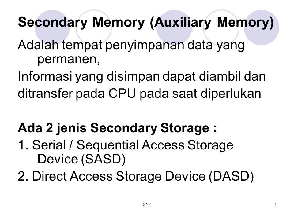 SNY4 Secondary Memory (Auxiliary Memory) Adalah tempat penyimpanan data yang permanen, Informasi yang disimpan dapat diambil dan ditransfer pada CPU p