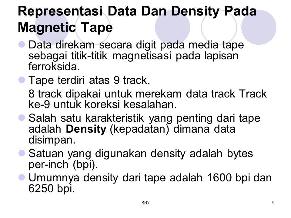 SNY6 Representasi Data Dan Density Pada Magnetic Tape Data direkam secara digit pada media tape sebagai titik-titik magnetisasi pada lapisan ferroksid