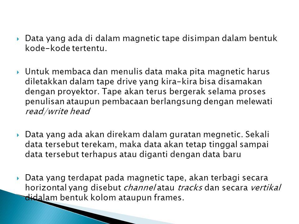  Data yang ada di dalam magnetic tape disimpan dalam bentuk kode-kode tertentu.