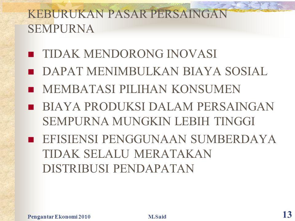 Pengantar Ekonomi 2010M.Said 13 KEBURUKAN PASAR PERSAINGAN SEMPURNA TIDAK MENDORONG INOVASI DAPAT MENIMBULKAN BIAYA SOSIAL MEMBATASI PILIHAN KONSUMEN