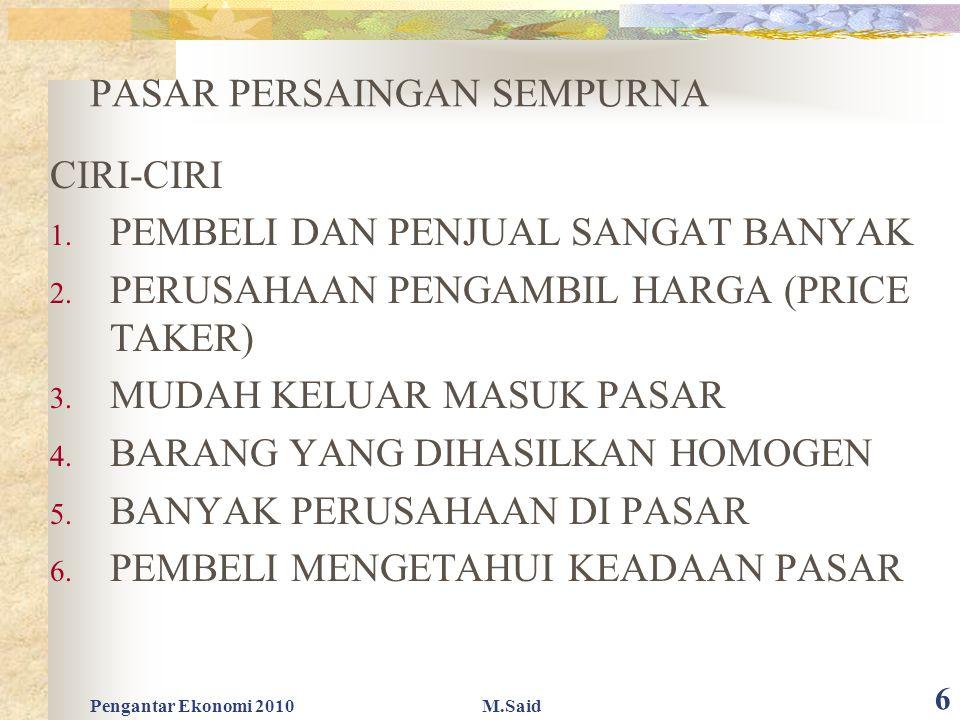Pengantar Ekonomi 2010M.Said 6 PASAR PERSAINGAN SEMPURNA CIRI-CIRI 1.