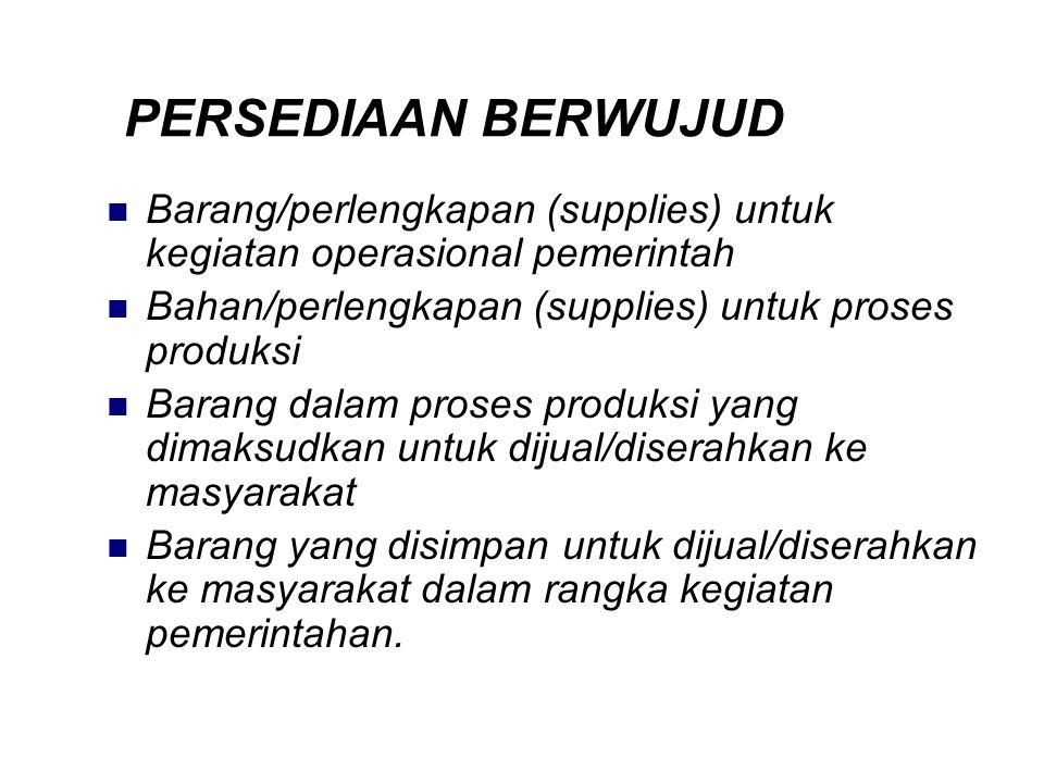 PERSEDIAAN BERWUJUD Barang/perlengkapan (supplies) untuk kegiatan operasional pemerintah Bahan/perlengkapan (supplies) untuk proses produksi Barang da