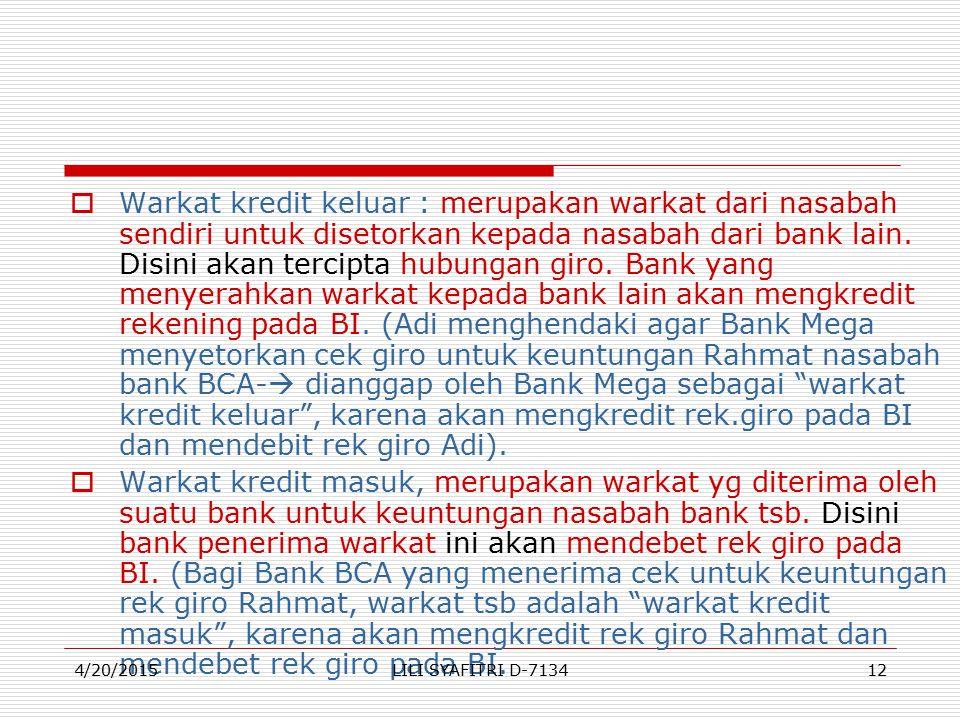  Warkat kredit keluar : merupakan warkat dari nasabah sendiri untuk disetorkan kepada nasabah dari bank lain.