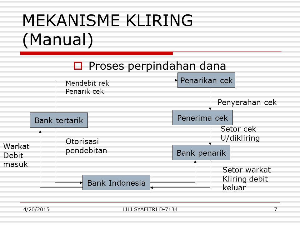 MEKANISME KLIRING (Manual) PProses perpindahan dana Bank tertarik Bank penarik Penerima cek Penarikan cek Bank Indonesia Mendebit rek Penarik cek Ot