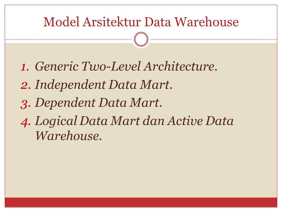 Model Arsitektur Data Warehouse 1.Generic Two-Level Architecture. 2.Independent Data Mart. 3.Dependent Data Mart. 4.Logical Data Mart dan Active Data