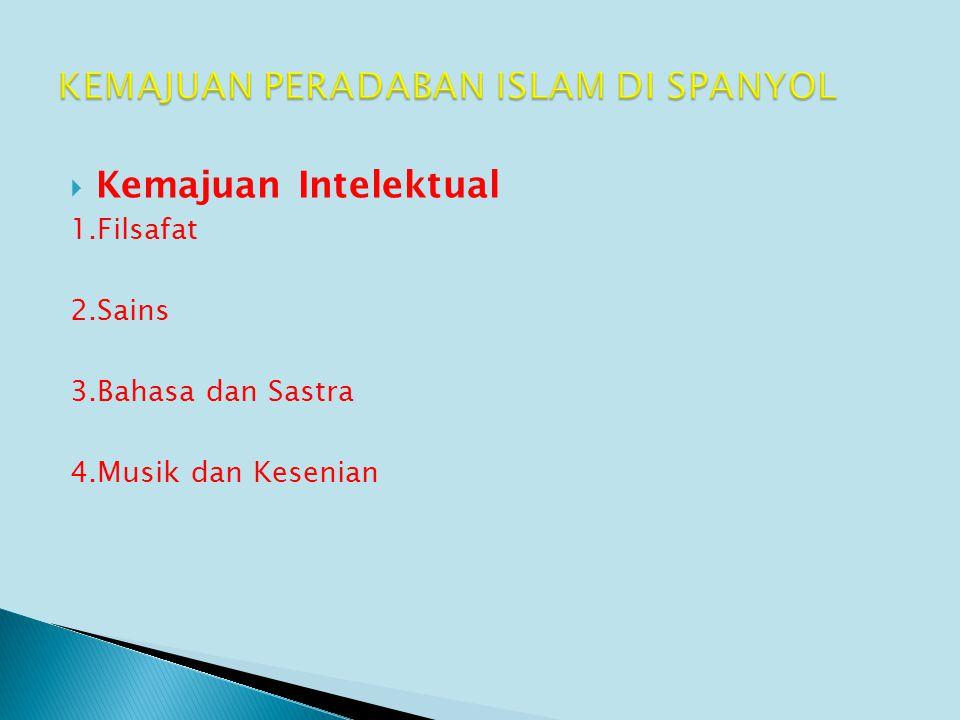  Kemajuan Intelektual 1.Filsafat 2.Sains 3.Bahasa dan Sastra 4.Musik dan Kesenian