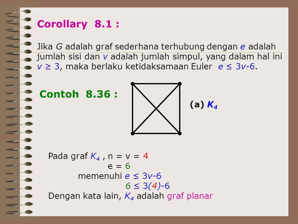 Corollary 8.1 : Jika G adalah graf sederhana terhubung dengan e adalah jumlah sisi dan v adalah jumlah simpul, yang dalam hal ini v ≥ 3, maka berlaku