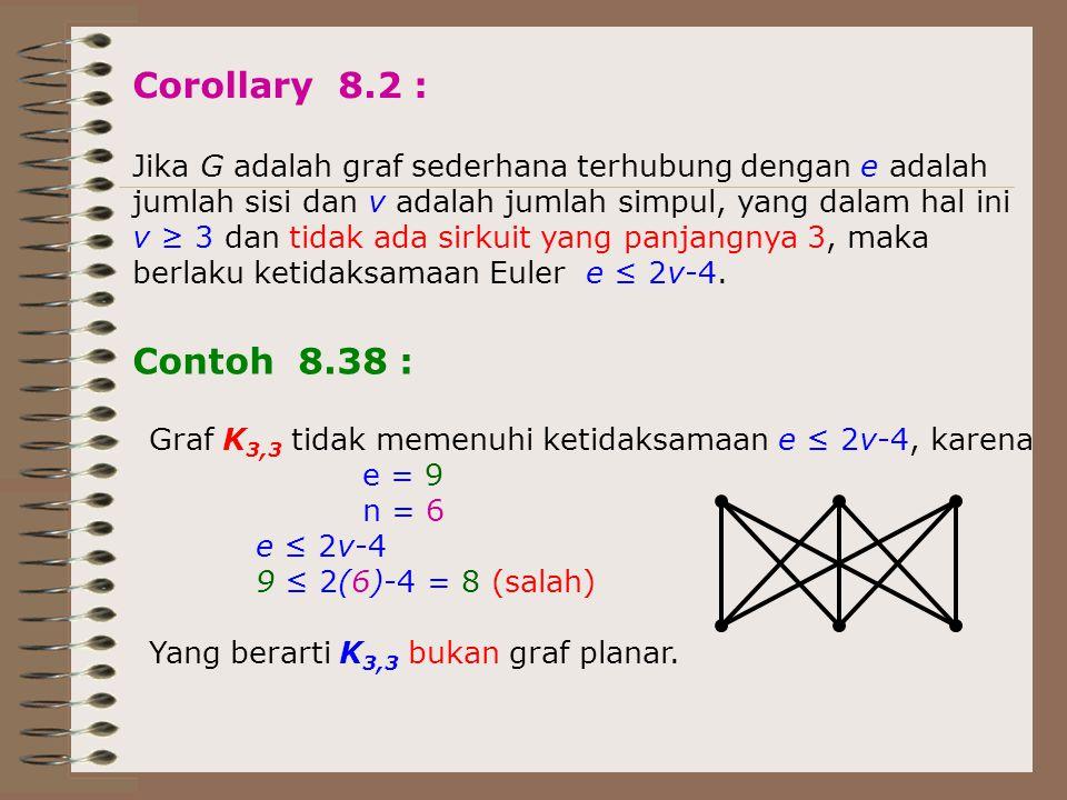 Corollary 8.2 : Jika G adalah graf sederhana terhubung dengan e adalah jumlah sisi dan v adalah jumlah simpul, yang dalam hal ini v ≥ 3 dan tidak ada