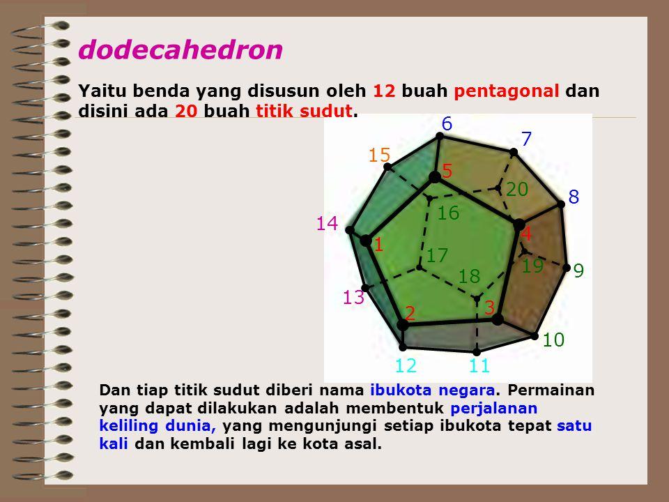 5 4 3 2 1 6 7 9 8 10 20 1112 13 14 15 16 17 18 19 dodecahedron Yaitu benda yang disusun oleh 12 buah pentagonal dan disini ada 20 buah titik sudut. Da