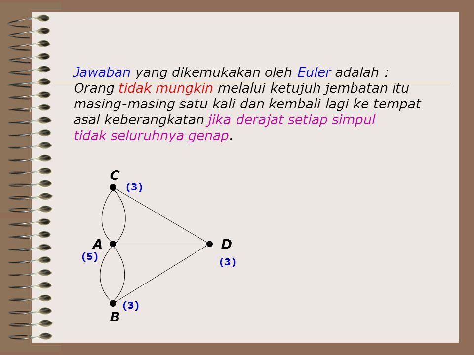 Jawaban yang dikemukakan oleh Euler adalah : Orang tidak mungkin melalui ketujuh jembatan itu masing-masing satu kali dan kembali lagi ke tempat asal