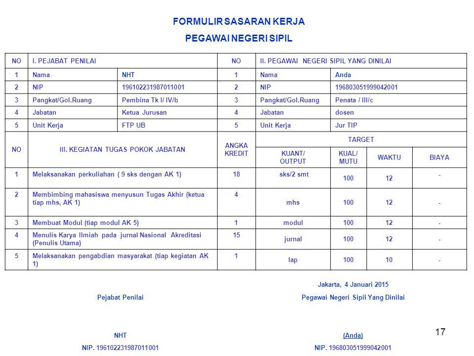 17 Jakarta, 4 Januari 2015 Pejabat PenilaiPegawai Negeri Sipil Yang Dinilai NHT(Anda) NIP. 196102231987011001NIP. 196803051999042001 FORMULIR SASARAN