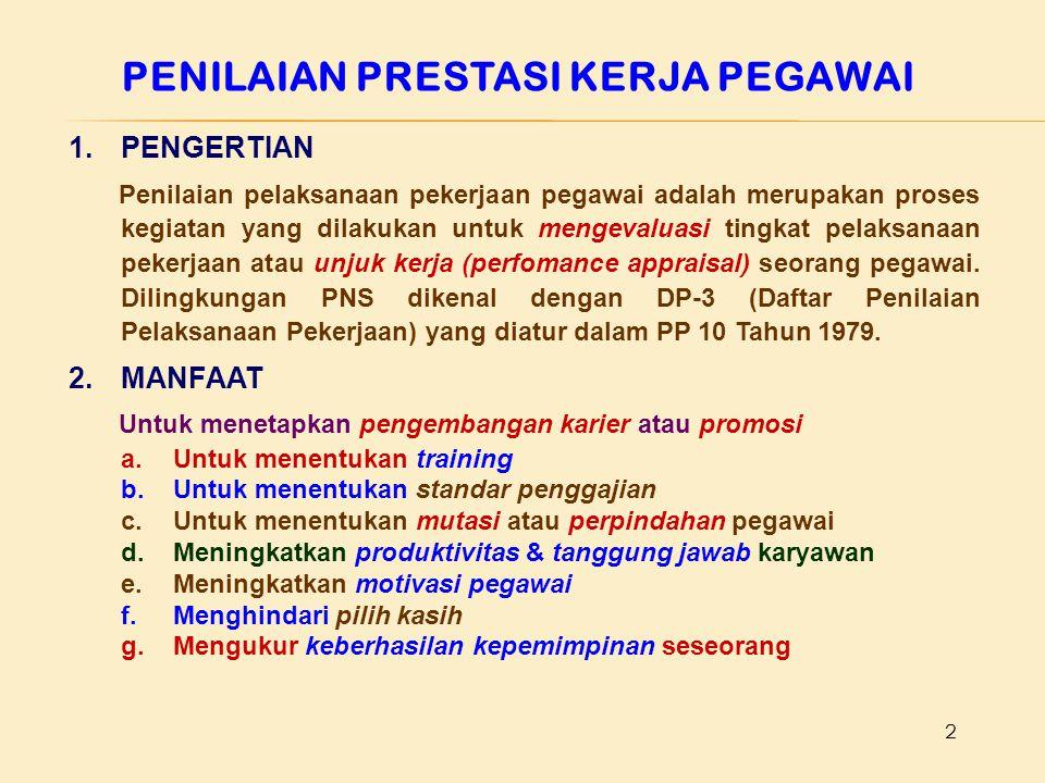 2 1.PENGERTIAN Penilaian pelaksanaan pekerjaan pegawai adalah merupakan proses kegiatan yang dilakukan untuk mengevaluasi tingkat pelaksanaan pekerjaa