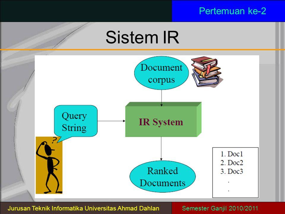 SistemIR Pertemuan ke-2 Jurusan Teknik Informatika Universitas Ahmad DahlanSemester Ganjil 2010/2011