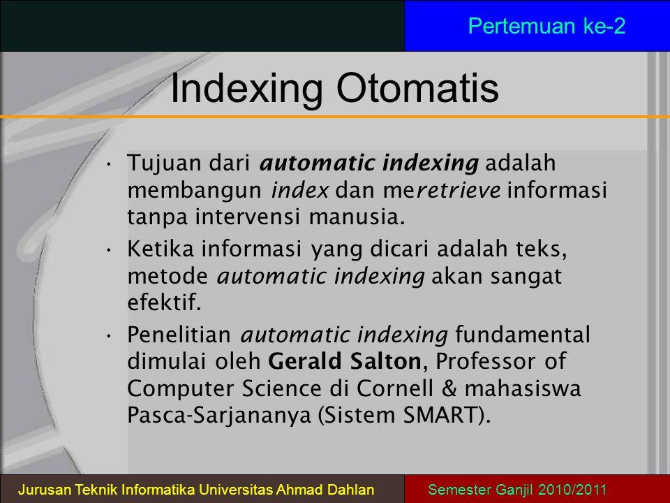 Indexing Otomatis Tujuan dari automatic indexing adalah membangun index dan meretrieve informasi tanpa intervensi manusia. Ketika informasi yang dicar