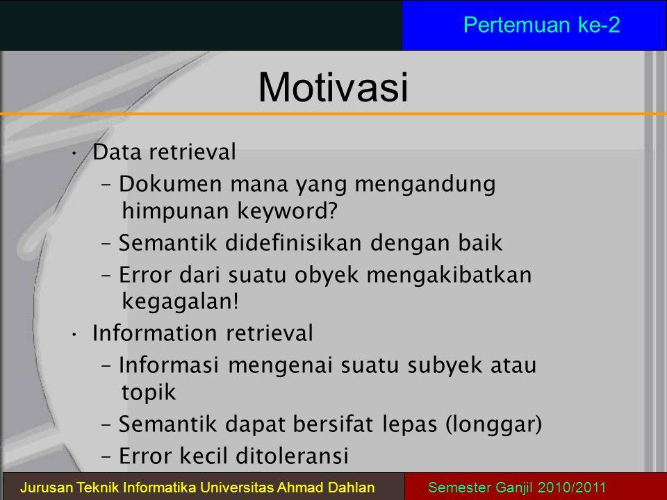 Motivasi Data retrieval – Dokumen mana yang mengandung himpunan keyword? – Semantik didefinisikan dengan baik – Error dari suatu obyek mengakibatkan k
