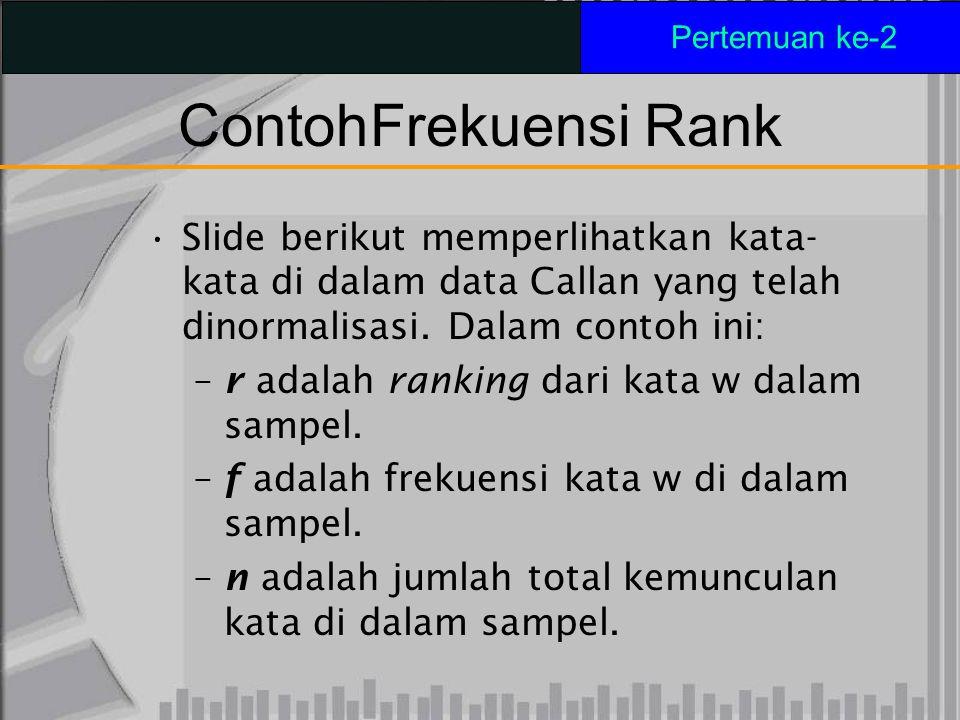 ContohFrekuensi Rank Slide berikut memperlihatkan kata- kata di dalam data Callan yang telah dinormalisasi. Dalam contoh ini: – r adalah ranking dari