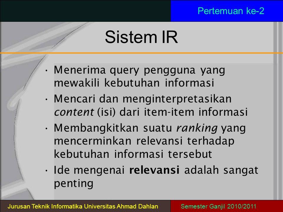 SistemIR Pertemuan ke-2 Jurusan Teknik Informatika Universitas Ahmad DahlanSemester Ganjil 2010/2011 Menerima query pengguna yang mewakili kebutuhan i