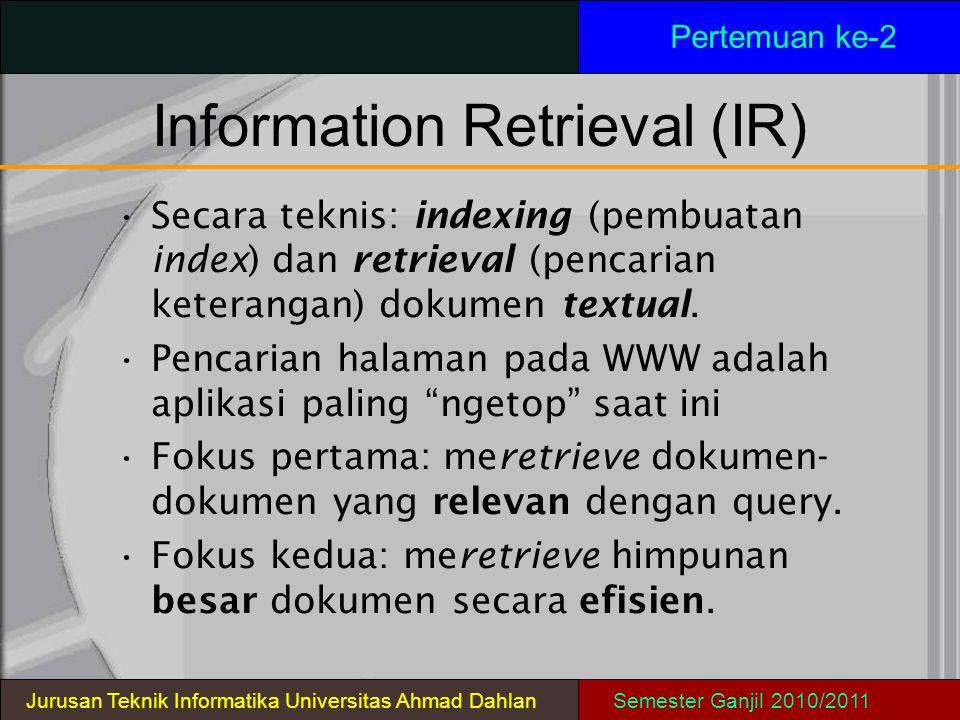 Information Retrieval (IR) Pertemuan ke-2 Secara teknis: indexing (pembuatan index) dan retrieval (pencarian keterangan) dokumen textual. Pencarian ha