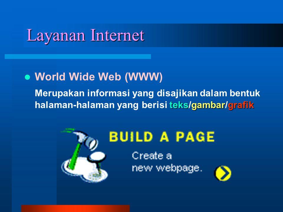 Layanan Internet World Wide Web (WWW) teksgambargrafik Merupakan informasi yang disajikan dalam bentuk halaman-halaman yang berisi teks/gambar/grafik