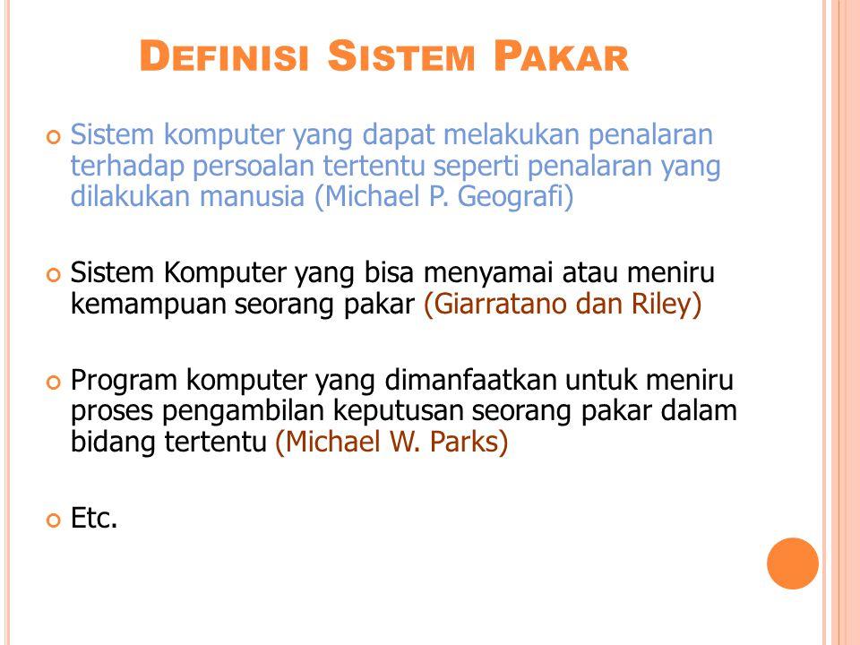 D EFINISI S ISTEM P AKAR Sistem komputer yang dapat melakukan penalaran terhadap persoalan tertentu seperti penalaran yang dilakukan manusia (Michael P.