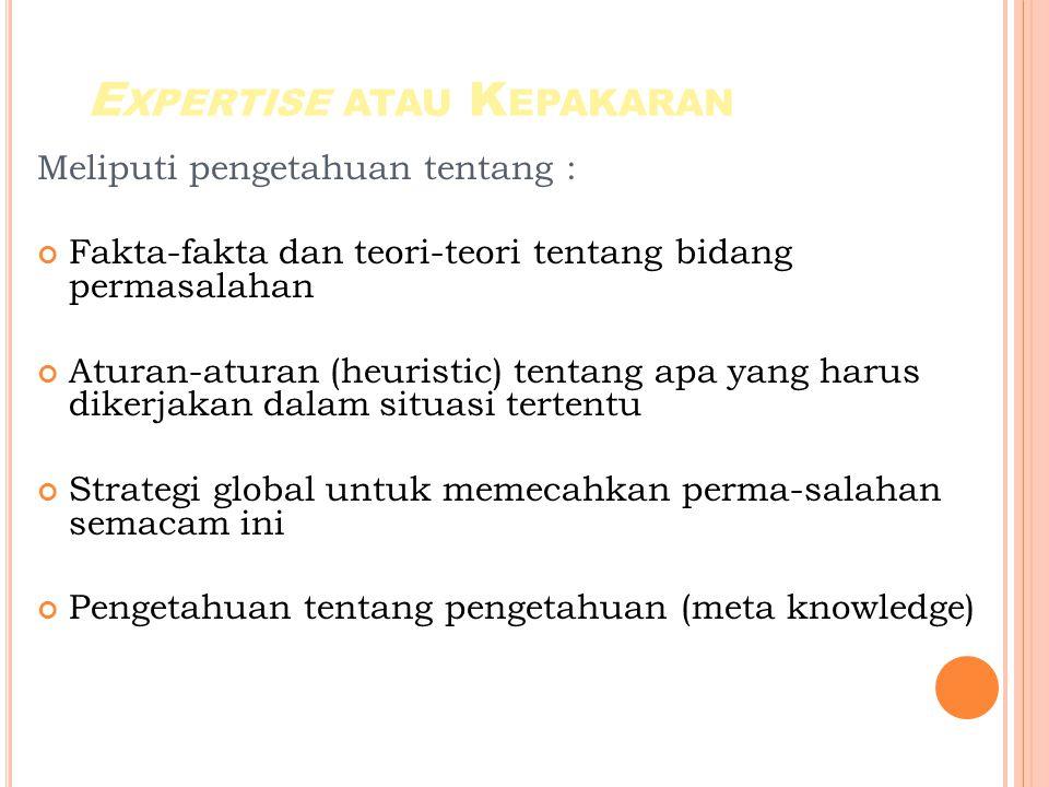 E XPERTISE ATAU K EPAKARAN Meliputi pengetahuan tentang : Fakta-fakta dan teori-teori tentang bidang permasalahan Aturan-aturan (heuristic) tentang apa yang harus dikerjakan dalam situasi tertentu Strategi global untuk memecahkan perma-salahan semacam ini Pengetahuan tentang pengetahuan (meta knowledge)
