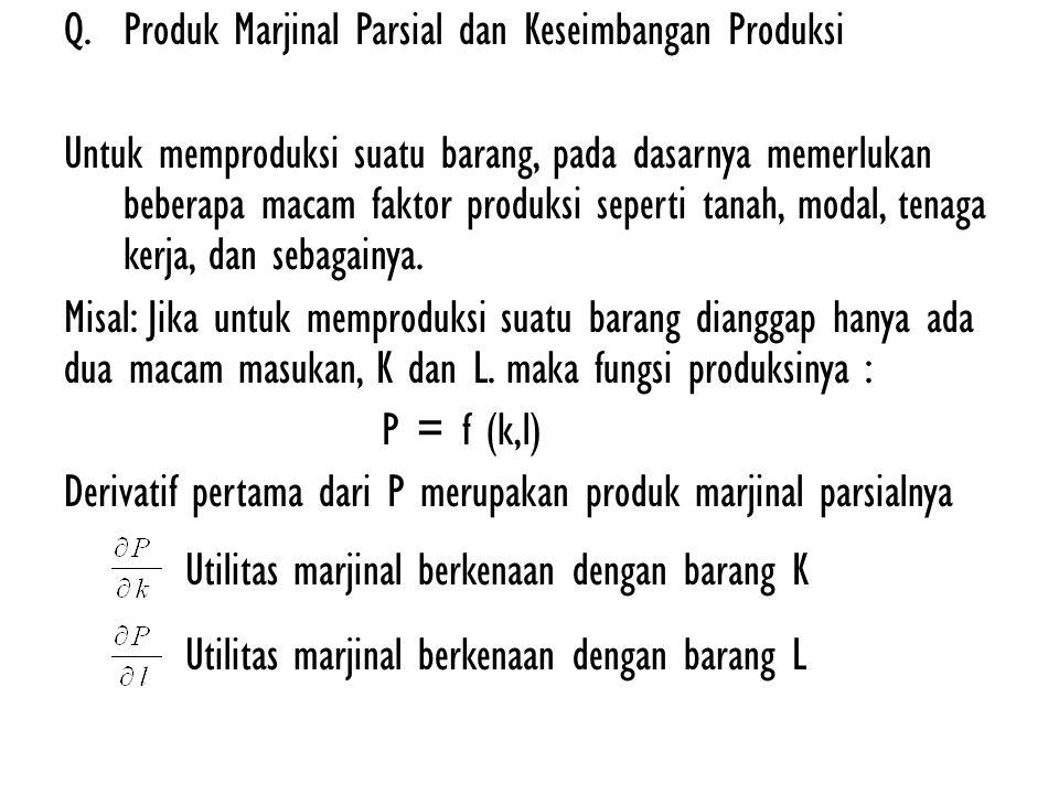 Q.Produk Marjinal Parsial dan Keseimbangan Produksi Untuk memproduksi suatu barang, pada dasarnya memerlukan beberapa macam faktor produksi seperti ta