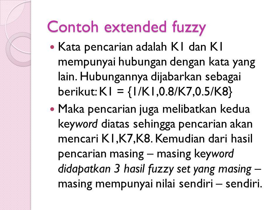 Contoh extended fuzzy Kata pencarian adalah K1 dan K1 mempunyai hubungan dengan kata yang lain. Hubungannya dijabarkan sebagai berikut: K1 = {1/K1,0.8