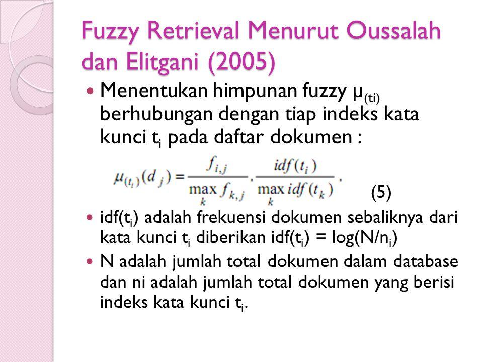 Fuzzy Retrieval Menurut Oussalah dan Elitgani (2005) Menentukan himpunan fuzzy µ (ti) berhubungan dengan tiap indeks kata kunci t i pada daftar dokume