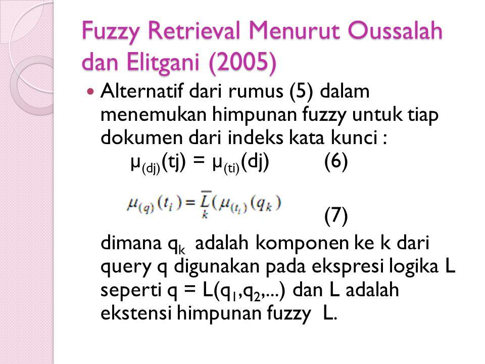 Fuzzy Retrieval Menurut Oussalah dan Elitgani (2005) Alternatif dari rumus (5) dalam menemukan himpunan fuzzy untuk tiap dokumen dari indeks kata kunc