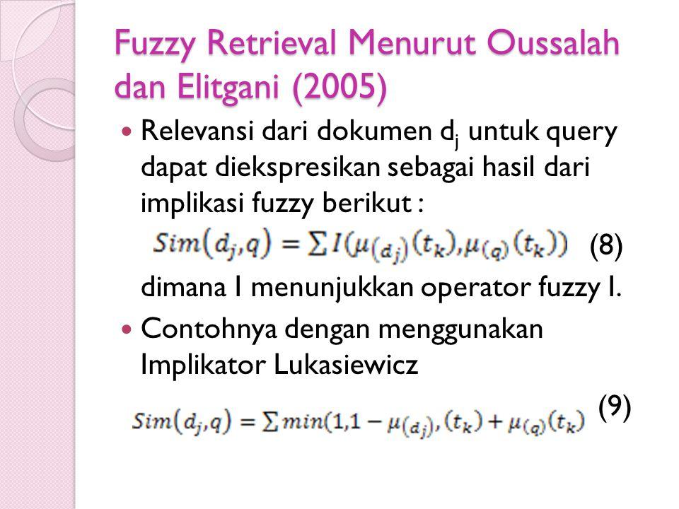 Fuzzy Retrieval Menurut Oussalah dan Elitgani (2005) Relevansi dari dokumen d j untuk query dapat diekspresikan sebagai hasil dari implikasi fuzzy ber