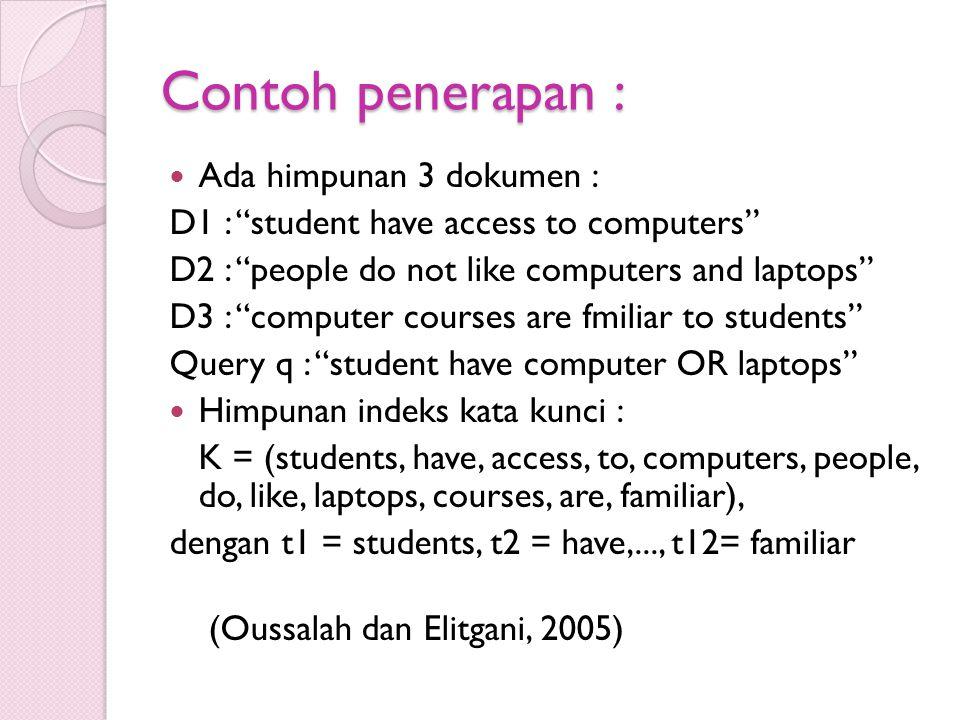 "Contoh penerapan : Ada himpunan 3 dokumen : D1 : ""student have access to computers"" D2 : ""people do not like computers and laptops"" D3 : ""computer cou"