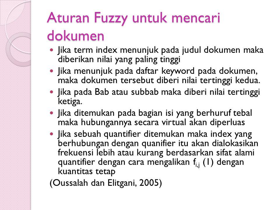 Aturan Fuzzy untuk mencari dokumen Jika term index menunjuk pada judul dokumen maka diberikan nilai yang paling tinggi Jika menunjuk pada daftar keywo