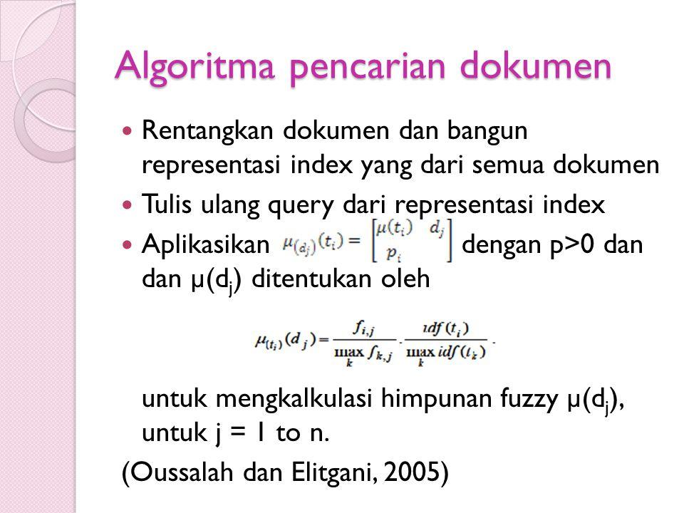 Algoritma pencarian dokumen Rentangkan dokumen dan bangun representasi index yang dari semua dokumen Tulis ulang query dari representasi index Aplikas