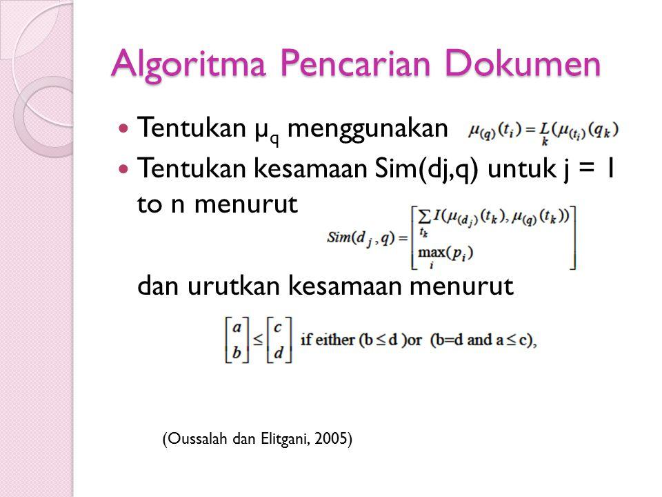 Algoritma Pencarian Dokumen Tentukan µ q menggunakan Tentukan kesamaan Sim(dj,q) untuk j = 1 to n menurut dan urutkan kesamaan menurut (Oussalah dan E