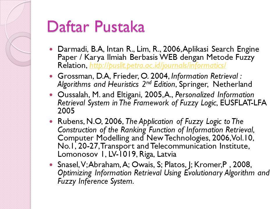 Daftar Pustaka Darmadi, B.A, Intan R., Lim, R., 2006, Aplikasi Search Engine Paper / Karya Ilmiah Berbasis WEB dengan Metode Fuzzy Relation, http://pu