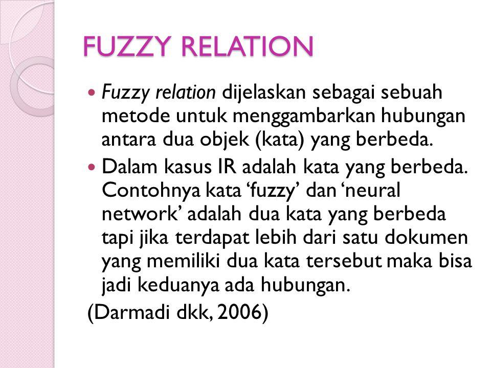 FUZZY RELATION Fuzzy relation dijelaskan sebagai sebuah metode untuk menggambarkan hubungan antara dua objek (kata) yang berbeda. Dalam kasus IR adala