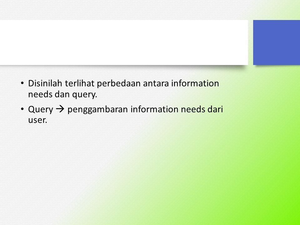 ?? Berikan contoh query dan information need, sehingga terlihat perbedaannya