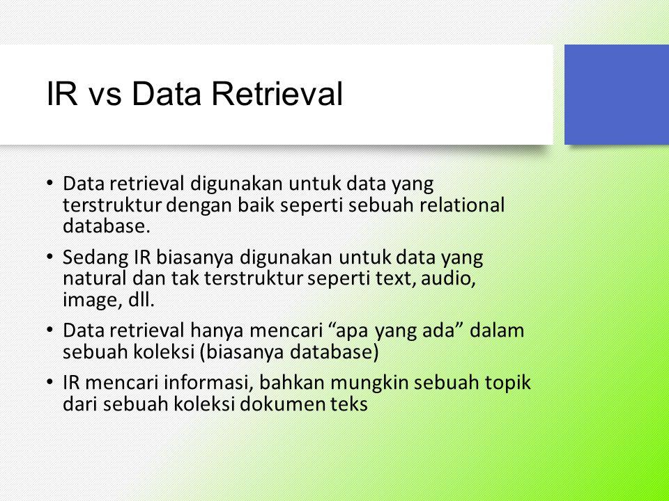 IR vs Data Retrieval Kesimpulan untuk Information Retrieval: Berhubungan dengan teks bahasa umum yang tidak selalu terstruktur dan ada kemungkinan memiliki kerancuan arti Informasi mengenai subyek atau topik Kesalahan masih bisa ditoleransi Bukan berupa suatu hal yang tercantum secara eksplisit