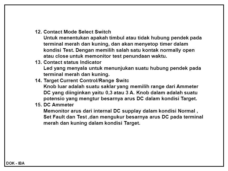12.Contact Mode Select Switch Untuk menentukan apakah timbul atau tidak hubung pendek pada terminal merah dan kuning, dan akan menyetop timer dalam ko