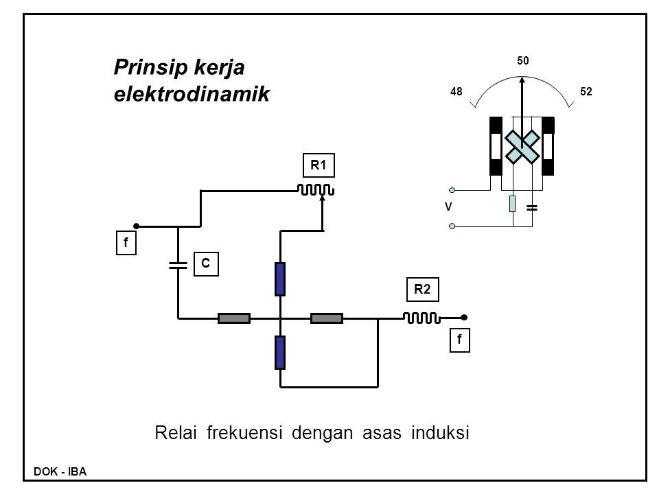 R1 R2 C f f Prinsip kerja elektrodinamik Relai frekuensi dengan asas induksi 50 4852 V DOK - IBA