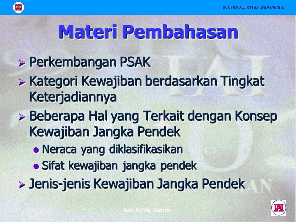 Dok. IAI Wil, Jakarta Materi Pembahasan  Perkembangan PSAK  Kategori Kewajiban berdasarkan Tingkat Keterjadiannya  Beberapa Hal yang Terkait dengan