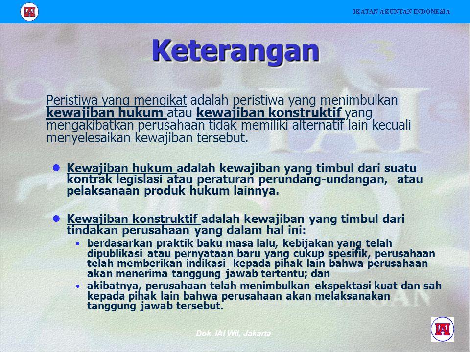 Dok. IAI Wil, Jakarta KeteranganKeterangan Peristiwa yang mengikat adalah peristiwa yang menimbulkan kewajiban hukum atau kewajiban konstruktif yang m