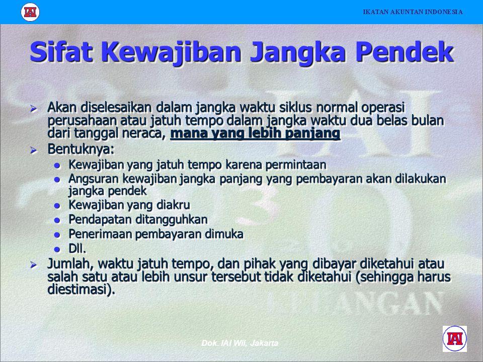 Dok. IAI Wil, Jakarta Sifat Kewajiban Jangka Pendek  Akan diselesaikan dalam jangka waktu siklus normal operasi perusahaan atau jatuh tempo dalam jan