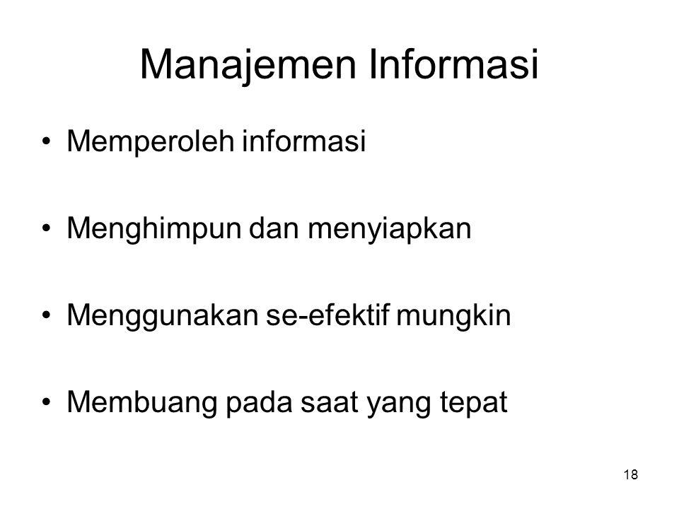 Manajemen Informasi Memperoleh informasi Menghimpun dan menyiapkan Menggunakan se-efektif mungkin Membuang pada saat yang tepat 18