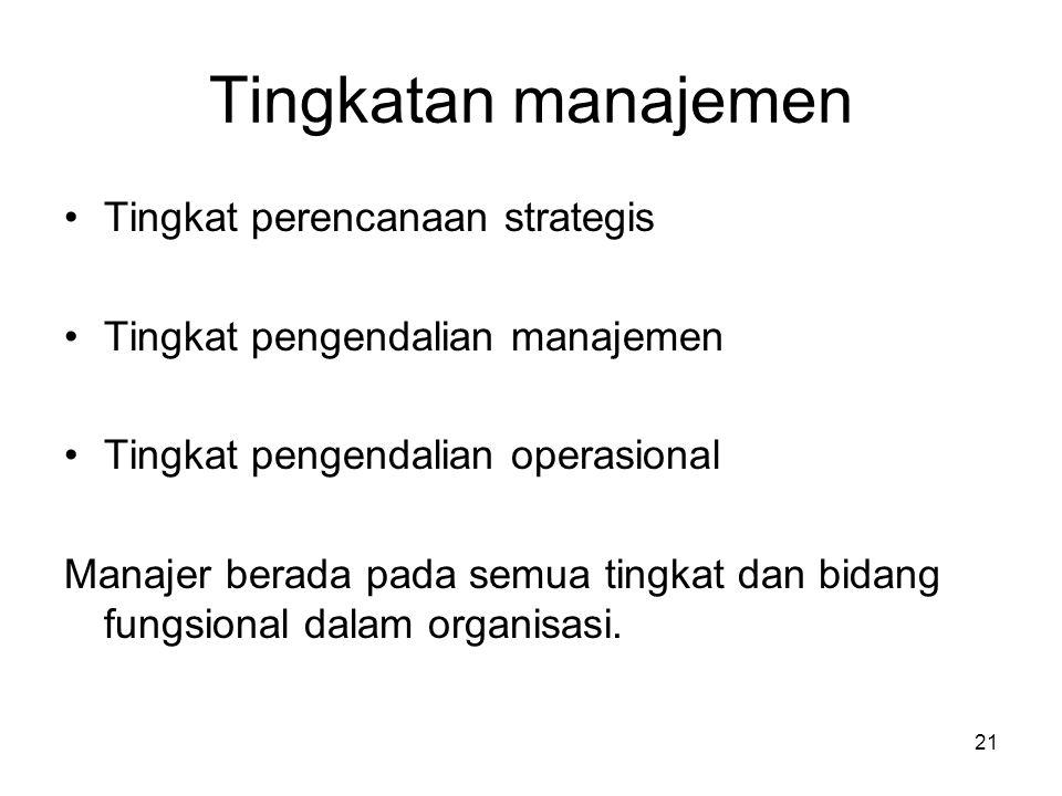 Tingkatan manajemen Tingkat perencanaan strategis Tingkat pengendalian manajemen Tingkat pengendalian operasional Manajer berada pada semua tingkat da