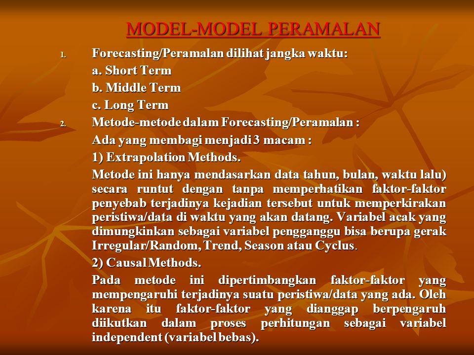 MODEL-MODEL PERAMALAN 1. Forecasting/Peramalan dilihat jangka waktu: a. Short Term b. Middle Term c. Long Term 2. Metode-metode dalam Forecasting/Pera