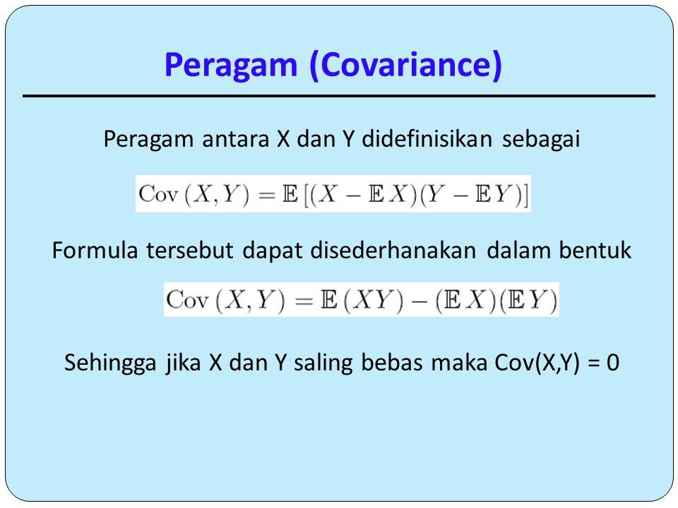 Peragam antara X dan Y didefinisikan sebagai Formula tersebut dapat disederhanakan dalam bentuk Sehingga jika X dan Y saling bebas maka Cov(X,Y) = 0 P