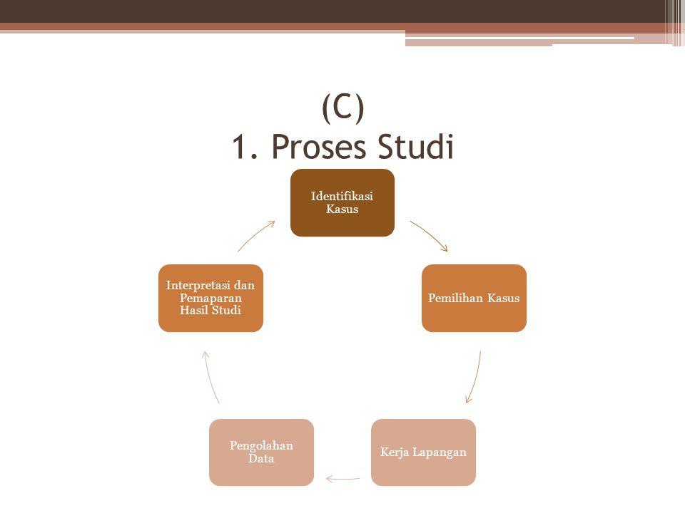 (C) 1. Proses Studi Identifikasi Kasus Pemilihan KasusKerja Lapangan Pengolahan Data Interpretasi dan Pemaparan Hasil Studi
