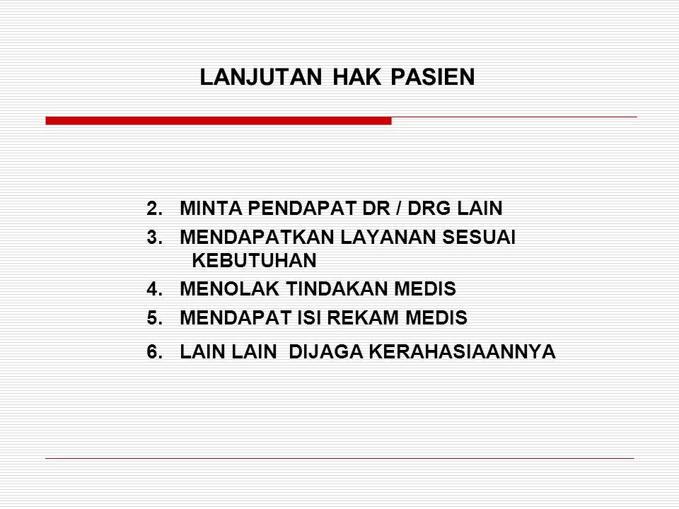 LANJUTAN HAK PASIEN 2. MINTA PENDAPAT DR / DRG LAIN 3. MENDAPATKAN LAYANAN SESUAI KEBUTUHAN 4. MENOLAK TINDAKAN MEDIS 5. MENDAPAT ISI REKAM MEDIS 6. L